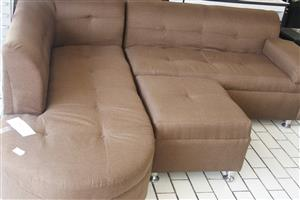 Brown L shaped couch with ottoman S036639C #Rosettenvillepawnshop