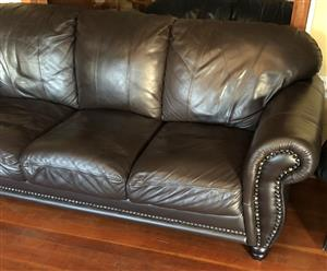 3 Seater Genuine Brown Leather couch