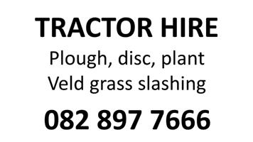 Tractor hire, veld grass cutting, ploughing and field prep