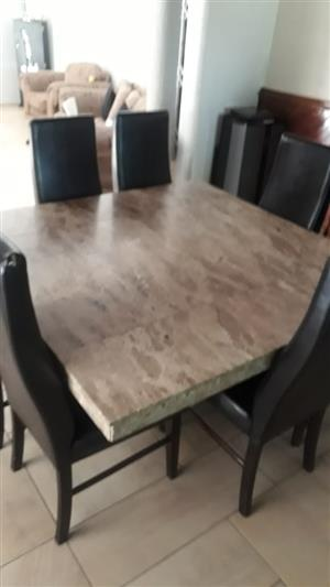 Square Marble Dining Room Suit With 8 Chairs Very Good Condition