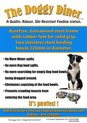 """The Doggy Diner"" A stationery feeding station for all Dogs"