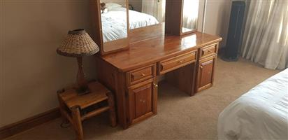 Wooden dresser with side table