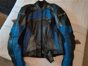Genuine Leather MQP Dynamic bikers Jacket R2500. 00 Size: 50 Colour: Blue and Black Condition: Almost new - Excellent Condition  Original price was R7000.00  Extra Bike cover Size: Large  Genuine leather gloves Size: Large Colour: Black  Both extra items for R300 extra