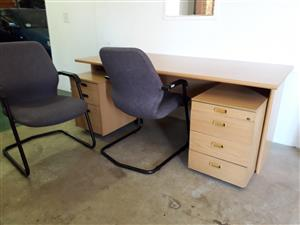 Desk, 2 Office Chairs and 2 Mobile Desk Drawers