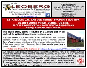 Property Auction - Estate Late van der Merwe - 26 July 2019 at 11h00