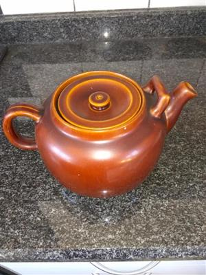 Fat brown and yellow teapot for sale