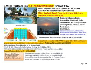"1 Week HOLLIDAY in a ""5 STAR CROWN Resort"" for R5950-00"
