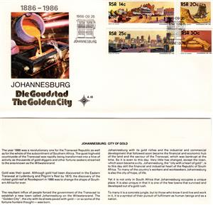 Commemorative Stamp & Envelope Set - Jhb the Golden City 1986