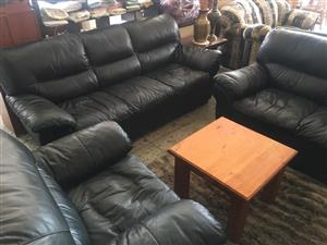 Cypress 3 pce genuine leather uppers lounge suite.