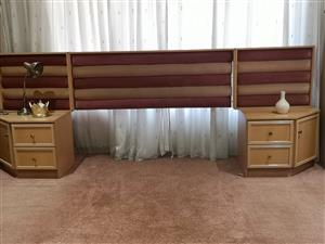 Queen sized Headboard with 2 pedestals