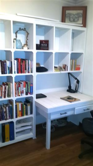 Study desk and bookshelf units Farmhouse series 1900 - White washed