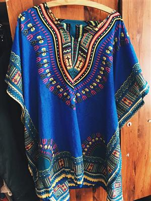 Blue multi colored sequence top