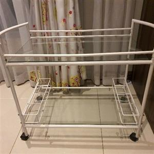 white Portable serving trolley