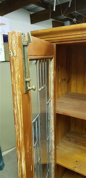 Oregon Pine and Lead Glass door Cupboard 2000x900x450mm