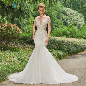 BATEAU NECK LONG MERMAID WEDDING DRESS WITH CHAPEL TRAIN (SIZES 2-26W + CUSTOM SIZE)