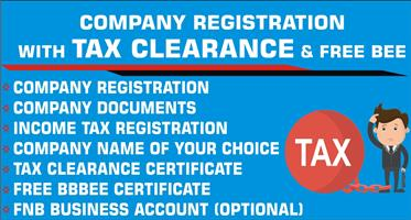 COMPANY REGISTRATION WITH TAX CLEARANCE AND FREE BBBEE CERTIFICATE - R950