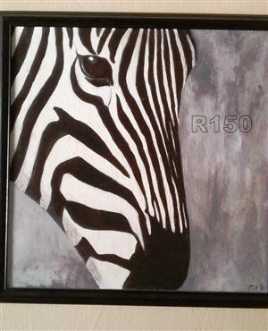 Original Acrylic Painting ZEBRA wildlife animals