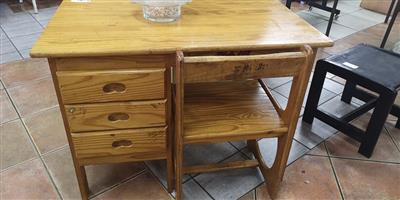 3 Drawer light wooden desk and chair