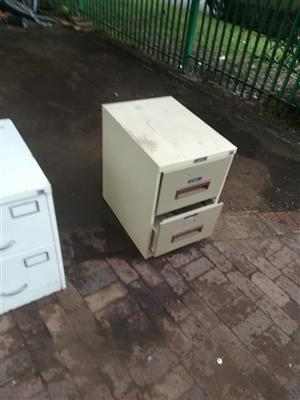 Small grey 2 drawer filing cabinet
