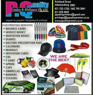 -Add Invoice books quotation books delivery note  -full color fliers 5000 a5 size if u order 10000 its R2500 Fliers.  -Business cards  Pamphlets. T shirts cup pull up banner contact 0717231720