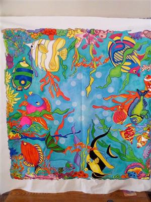 Under the sea Fabric painted table cloth