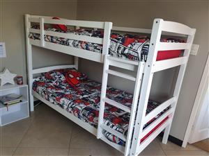 White Wooden Bunk Beds & Linen