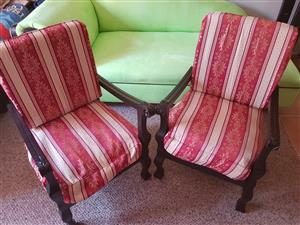 Stinkwood ball and claw vintage chairs