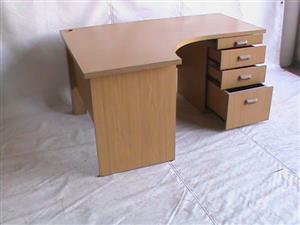 Oak curved desk plus fitted pedestal