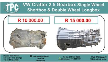 Vw Crafter 2.5 Gearbox Single Wheel Shortbox & Double Wheel Longbox For Sale.