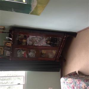 Old imbuia corner display cabinet