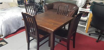 Dining Table Solid Wood with 4x Solid chair.