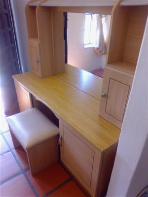 DRESSING TABLE WITH LARGE MIRROR AND STOOL FOR SALE R500.