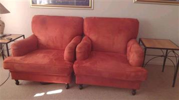 2 Red suede 1 seater couches