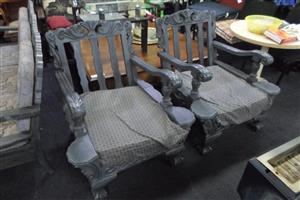 Wooden Ball and Claw 3 Seater, 2x 1 Seater - B033047785-6