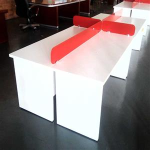 4 Way cluster desk plus dividers Red/White