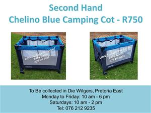 Second Hand Chelino Blue Camping Cot (Mattress available at R350 extra)