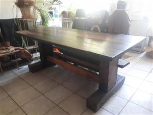 Large dark wooden pallet table