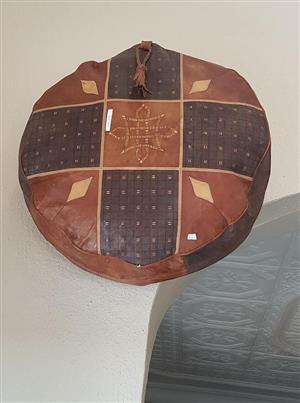 Leather ottomans and leather round carpet