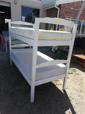 Wooden white bunk bed for sale