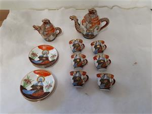 14 piece Japanese Satsuma Dragon porcelain tee set S.W.S