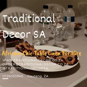 Traditional, African Print Table Linen Decor for HIRE