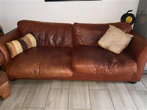 Brown leather 3 seater couch for sale