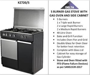 Delta 5 burner gas stove with gas oven and side cabinet. ONLY R200 COURIER ANYWHERE IN SA.