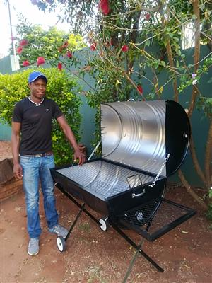 Drum braai stands with lid and wheels brand new and large