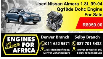 Used Nissan Almera 1.8L Dohc 99-04 Qg18de Engine For Sale
