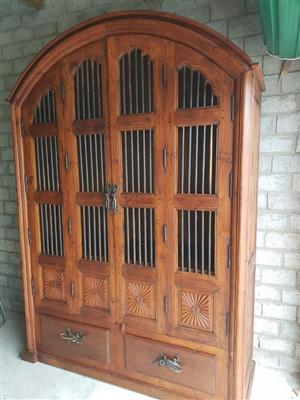 Indonesian Side board, solid wood with brass