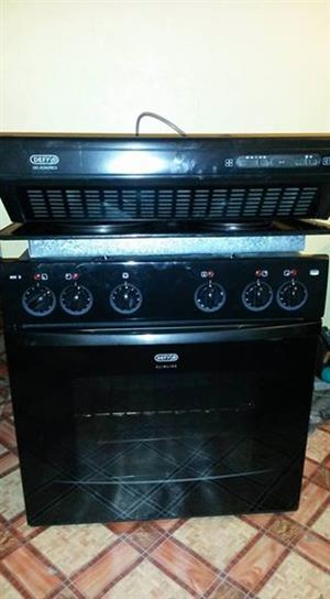 Oven and hob plus cooker hood