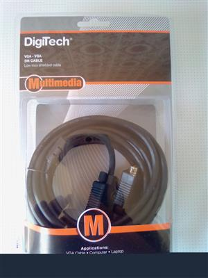 VGA to VGA 5m Multimedia DigiTech Cable. Brand new. Sealed in a box.