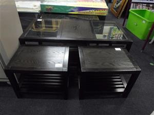 Coffee Table Wooden Glass Top with 2 Side Tables