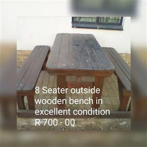 8 Seater wooden patio bench
